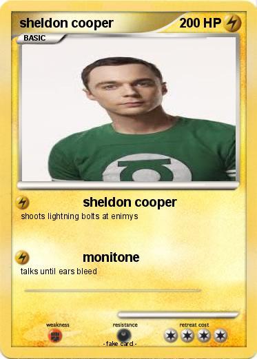 ... poku00e9mon sheldon cooper 27 27 - sheldon cooper - my pokemon card
