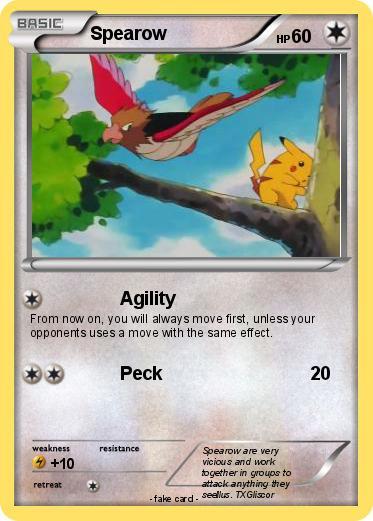 Pokémon Spearow 64 64 - Agility - My Pokemon Card  Spearow