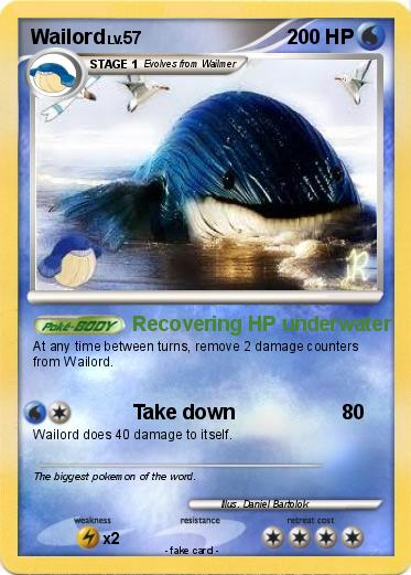 Pok mon wailord 285 285 recovering hp underwater my pokemon card - Wailord pokemon x ...