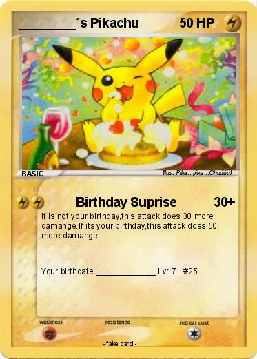 Pikachu Birthday Card English