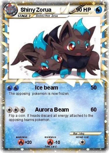 Pokémon Shiny Zorua 5 5 - Ice beam - My Pokemon Card  Shiny Zoroark Card