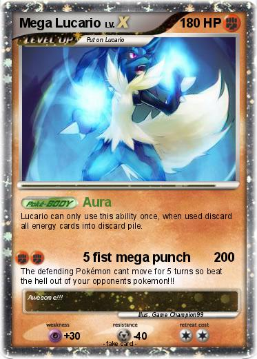 Pokémon Mega Lucario 37 37 - Aura - My Pokemon Card