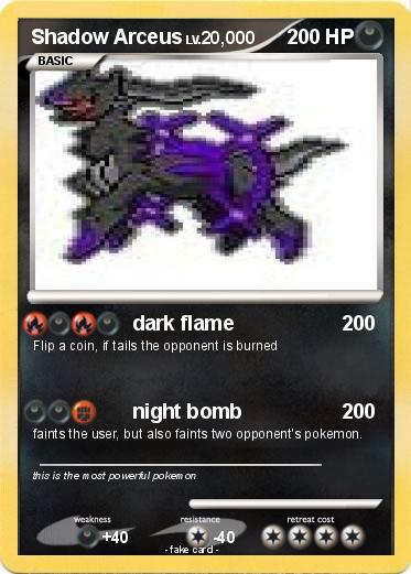 Pokémon Shadow Arceus 85 85 - dark flame - My Pokemon Card