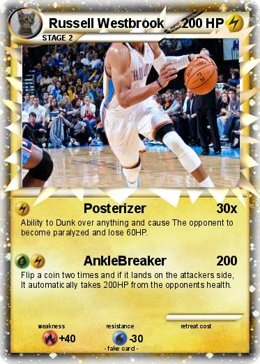 russell westbrook coloring pages - pok mon russell westbrook 2 2 posterizer my pokemon card