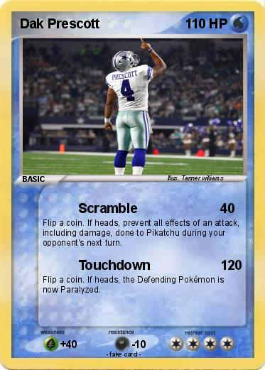 Pok mon dak prescott 2 2 scramble my pokemon card for Dak prescott coloring pages