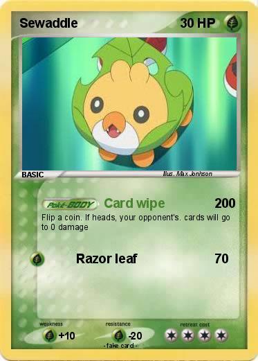 pok233mon sewaddle 39 39 card wipe my pokemon card