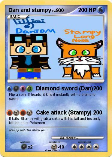 Pok 233 Mon Dan And Stampy Diamond Sword Dan My Pokemon Card