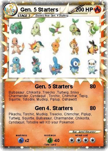 generation 5 pokemon starters. Pokemon Gen. 5 Starters