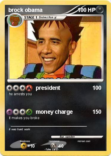 Pok 233 Mon Brock Obama 150 150 President My Pokemon Card