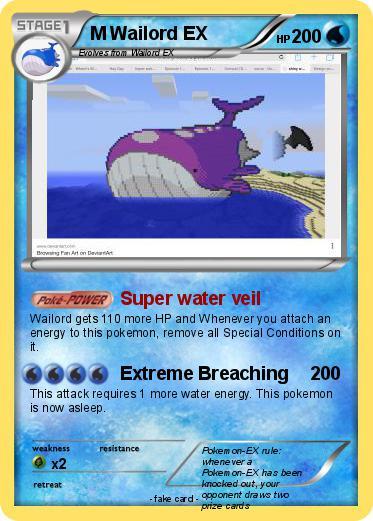 Pokémon M Wailord EX 5 5 - Super water veil - My Pokemon Card Wailord Pokemon Card
