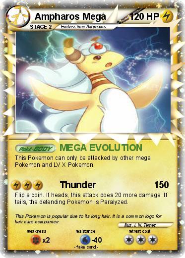 Pok mon ampharos mega mega evolution my pokemon card - Carte pokemon mega evolution ex ...