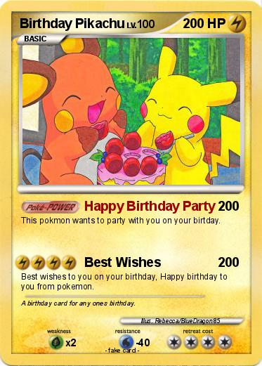 Pikachu Happy Birthday Card