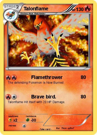 Pok mon talonflame 50 50 flamethrower my pokemon card - Mypokecard com ...