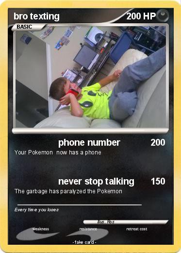 Pokémon bro texting - phone number - My Pokemon Card
