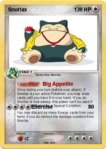 pok233mon snorlax 305 305 big appetite my pokemon card