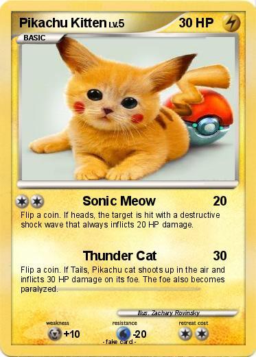 Pokmon Pikachu Kitten 2 Sonic Meow My Pokemon Card
