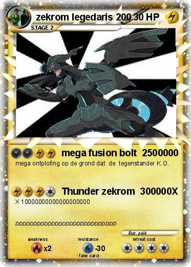 Pok 233 Mon Zekrom Legedaris 200 200 Mega Fusion Bolt