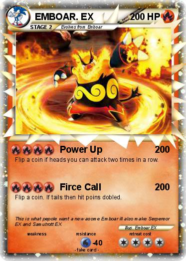 Pokémon EMBOAR EX 68 68 - Power Up - My Pokemon Card