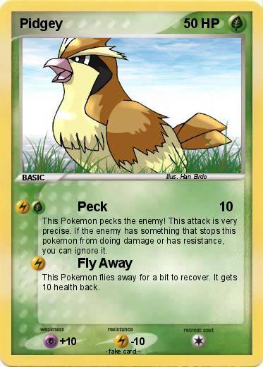 Pokémon Pidgey 186 186 - Peck - My Pokemon Card