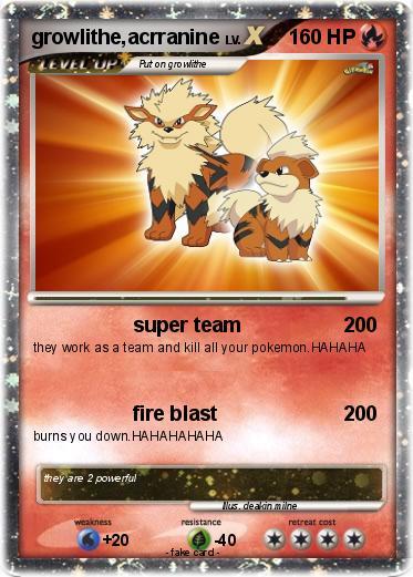 Growlithe Pokemon Card Pokémon growli...