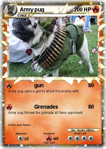 Pok 233 Mon Army Pug Gun My Pokemon Card