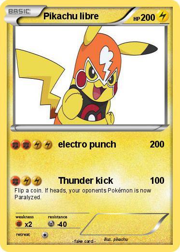 Pok mon Pikachu libre 23 23 electro punch My Pokemon Card
