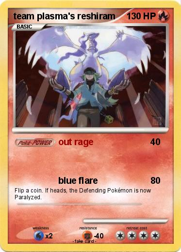 Pok mon team plasma s reshiram out rage my pokemon card - Carte pokemon team plasma ...