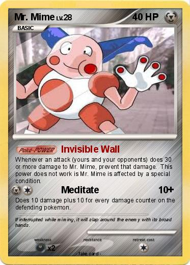 Pok 233 Mon Mr Mime 20 20 Invisible Wall My Pokemon Card