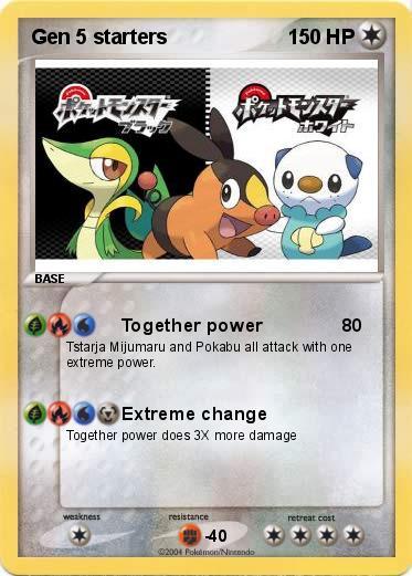 generation 5 pokemon starters. Pokemon Gen 5 starters