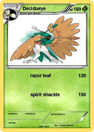 Pok 233 mon decidueye 9 9 razor leaf my pokemon card