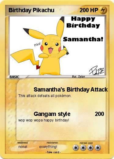 pokémon birthday pikachu    samantha's birthday attack  my, Birthday card