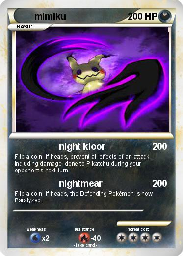 Pokmon Mimiku 1 Night Kloor My Pokemon Card