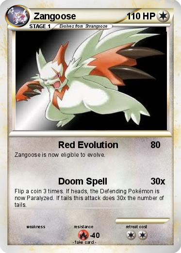 pok233mon zangoose 57 57 red evolution my pokemon card