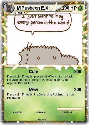 Pok Mon Pusheen Cute Pokemon Card