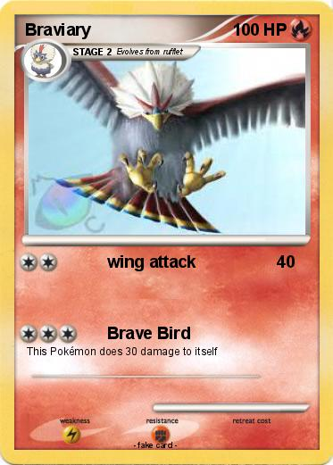 Pokémon Braviary 84 84 - wing attack - My Pokemon Card