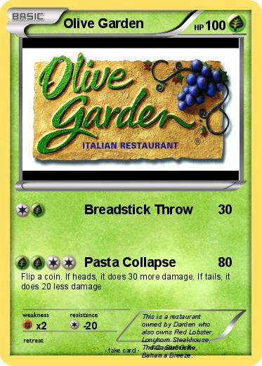 Pok mon olive garden breadstick throw my pokemon card for Who owns olive garden