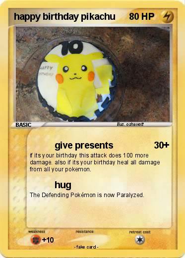pokémon happy birthday pikachu    give presents  my pokemon card, Birthday card