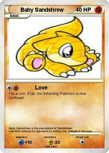 Pok 233 Mon Baby Sandshrew 3 3 Love My Pokemon Card