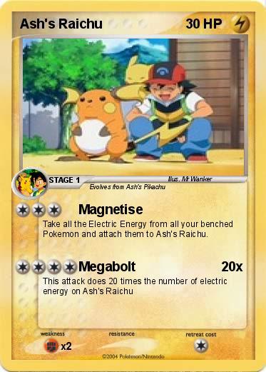 Pok 233 mon ash s raichu 1 1 magnetise my pokemon card