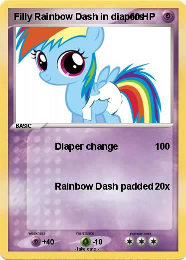 Pokemon Filly Rainbow Dash in diapers