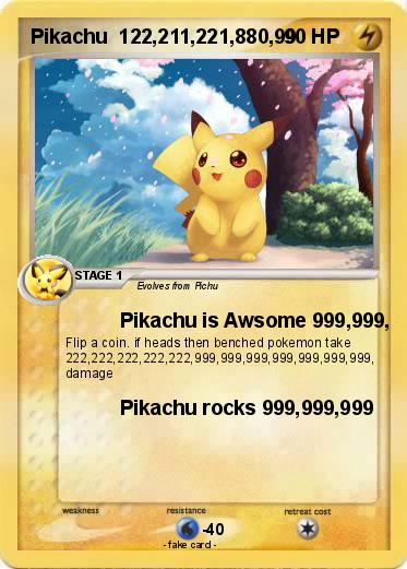 Pokemon Pikachu  122,211,221,880,99