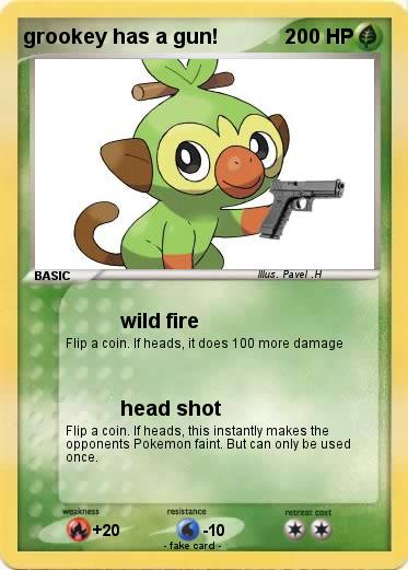 Pokemon grookey has a gun!
