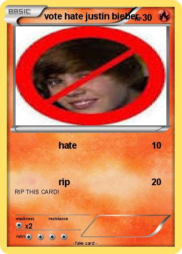 Pokemon vote hate justin bieber