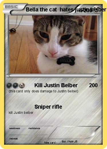 Pokemon Bella the cat  hates justin beiber