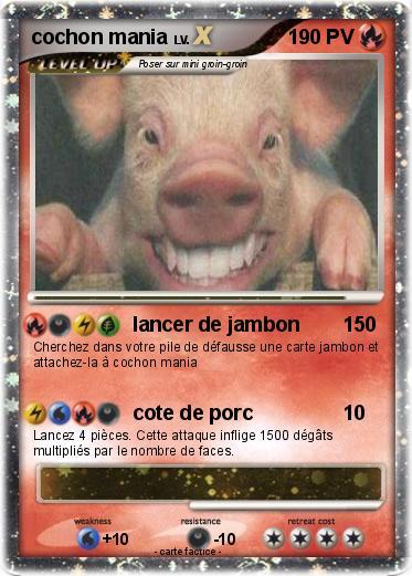 Pok mon cochon mania lancer de jambon ma carte pok mon - Cochon pokemon ...