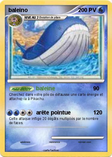 Pok mon baleino 11 11 baleine ma carte pok mon - Pokemon baleine ...