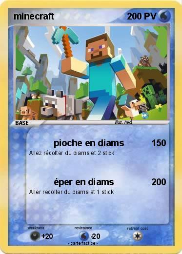 Pokémon minecraft 629 629 - pioche en diams - Ma carte Pokémon