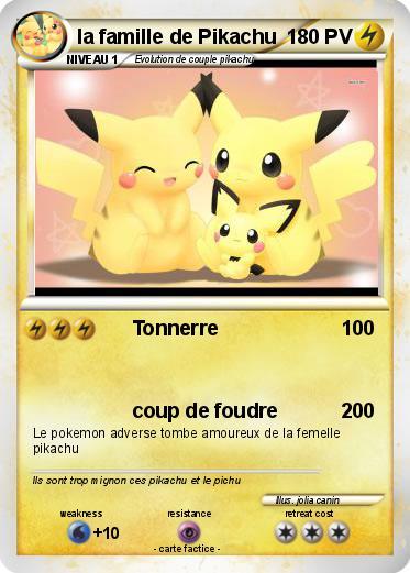 Pok mon la famille de pikachu 1 1 tonnerre ma carte pok mon - Pokemon famille pikachu ...