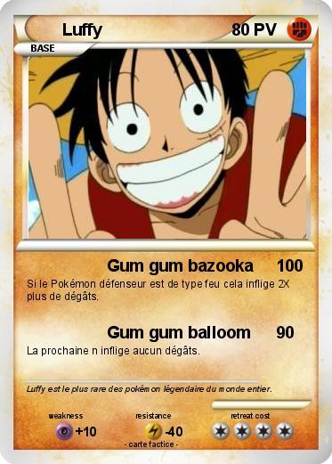 Pok mon luffy 1484 1484 gum gum bazooka ma carte pok mon - Tout les carte pokemon ex du monde ...
