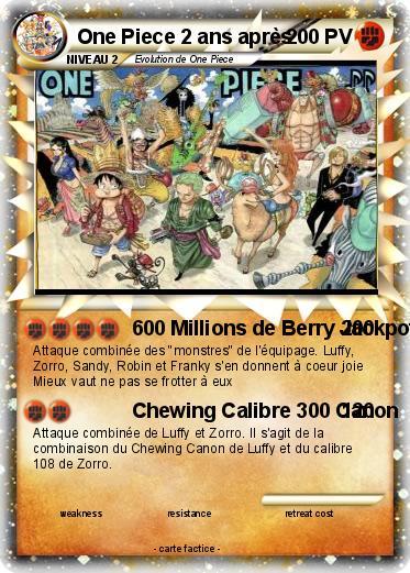 Pok mon one piece 2 ans apres 1 1 600 millions de berry jackpot ma carte pok mon - One piece wanted 2 ans plus tard ...